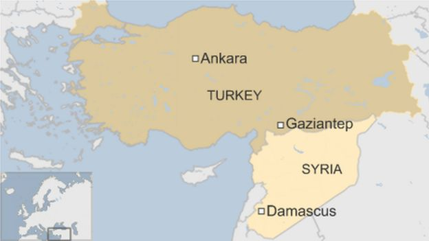 map of Turkey and Syria showing Gaziantep close to Syrian border