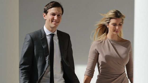 White House Senior Advisor to the President for Strategic Planning Jared Kushner and his wife and President Donald Trump's daughter Ivanka at the White House in Washington, DC, 10 February 2017