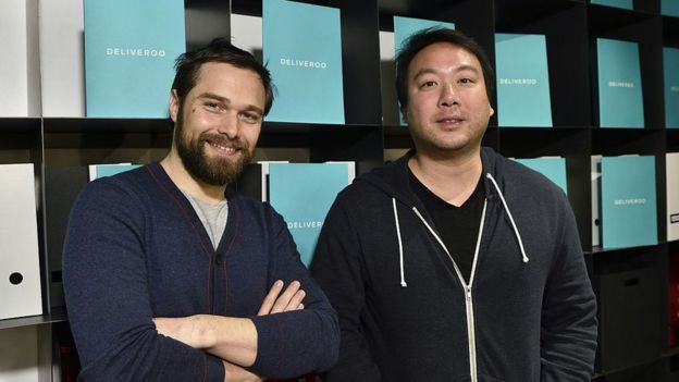 Deliveroo France director Adrien Falcon and founder Will Shu