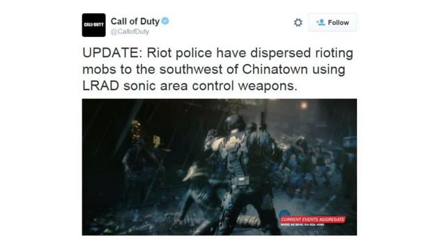 A tweet carried by Call of Duty's Twitter account