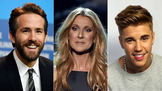 Ryan Reynolds, Celine Dion and Justin Bieber