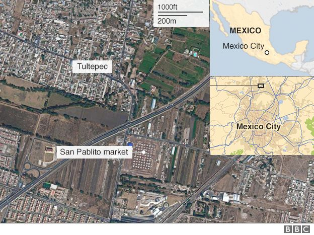 Map of the site of the explosion in Mexico City