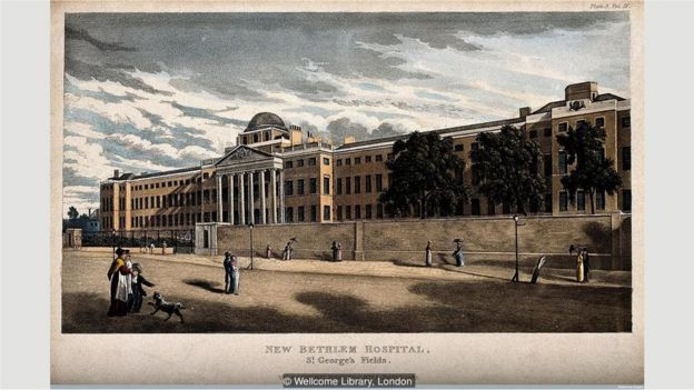 The Versailles-like version of Bethlem was torn down in 1815 and replaced by this stark building at St George's Fields in Southwark
