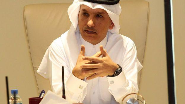 Qatari Finance minister Ali al-Emadi speaks to journalists in Doha (7 February 2017)