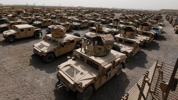 US vehicles at Camp Liberty in Baghdad (30 September 2011)