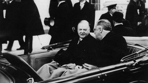 Franklin Delano Roosevelt, the 32nd President (right) and his predecessor Herbert Hoover leaving the White House in Washington, DC. leaving the White House in Washington, DC.