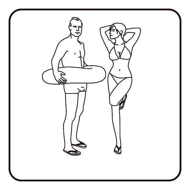 Mulher e homem em trajes de banho