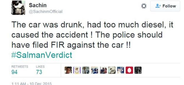 The car was drunk, had too much diesel, it caused the accident ! The police should have filed FIR against the car !! #SalmanVerdict
