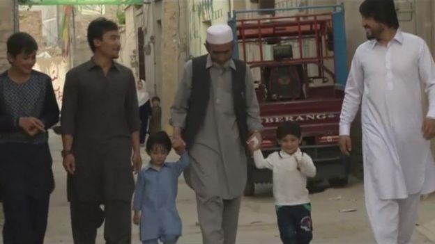 Murtaza (second from right) with family members in Quetta