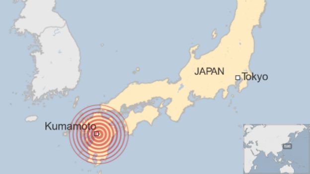 Epicenter near Kumamoto, Japan (graphic courtesy BBC)