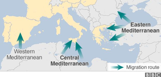 Map showing migrant routes in the Mediterranean
