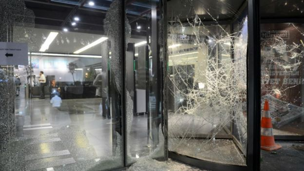 Windows at Hurriyet newspaper, Istanbul, smashed on Tuesday.