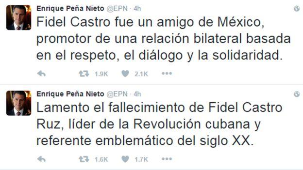 Tuit de Peña Nieto, lamentando el fallecimiento de Fidel Castro