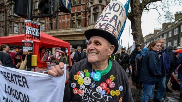 Protestors in central London
