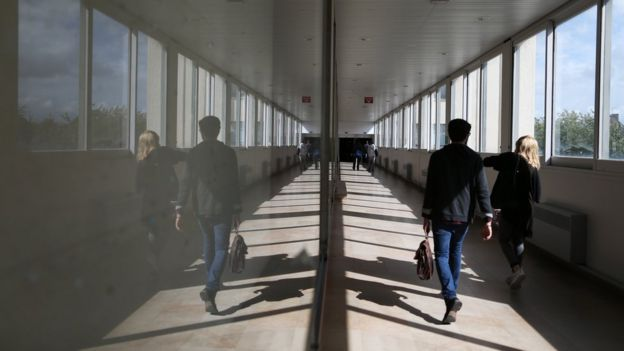 Caen University corridor