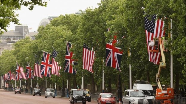 UK and US flags on Pall Mall during Barack Obama's 2011 state visit to the UK