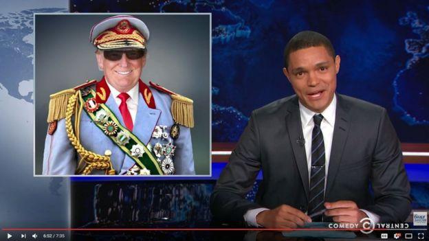 Trevor Noah en su programa hablando sobre las similitudes entre Trump y distintos presidentes africanos.