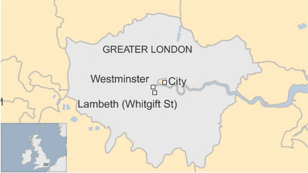 Map showing Lambeth riot