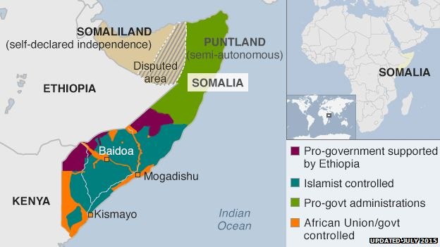 map showing who controls which parts of Somalia