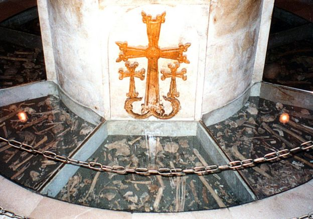 Human bones in a pit within the church