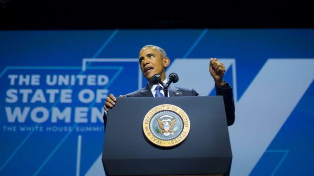 Barack Obama durante cumbre de mujeres auspiciada por la Casa Blanca