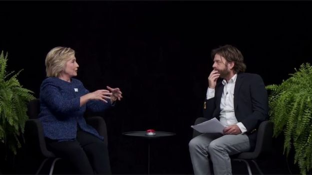 Hillary Clinton and Zach Galifanakis on online show Between Two Ferns - 22 September 2016