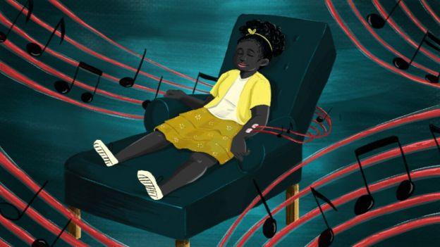 Una ilustración muestra a una pequeña sometiéndose a una diálisis mientras oye música