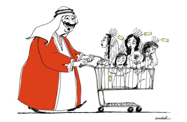 Cartoon by Doaa El Adl of Arab man pushing shopping trolley full of women