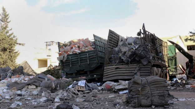 Remains of aid convoy attacked on Monday - 20 September