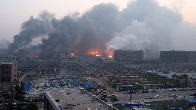 Widespread damage from blasts in Tianjin. 13 Aug 2015