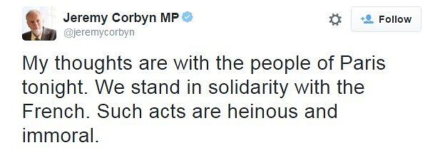 A tweet from Jeremy Corbyn reading: