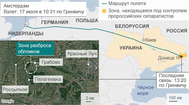 карта крушения МН-17