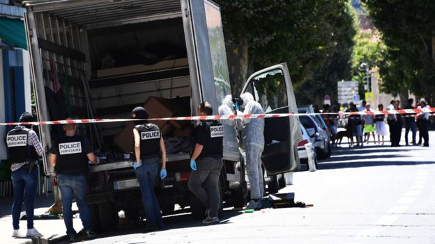 Police search the lorry driven by the Nice killer