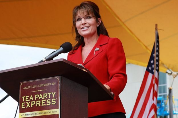 Former Alaska Governor Sarah Palin addresses a Tea Party rally in New Hampshire in 2011