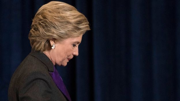Democratic presidential candidate Hillary Clinton walks off the stage after speaking in New York on 9 November