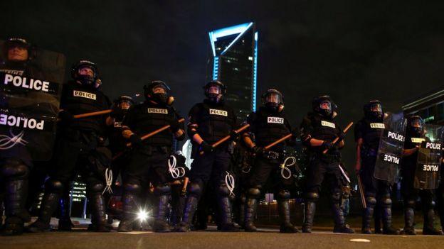 Police keep demonstrators off the highway