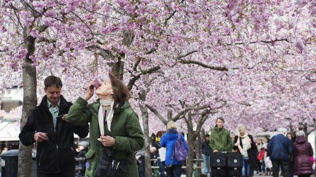 жінка нюхає квіти на вулиці