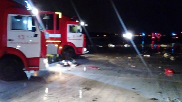 Russian emergency services working at the crash site at Rostov-on-Don airport