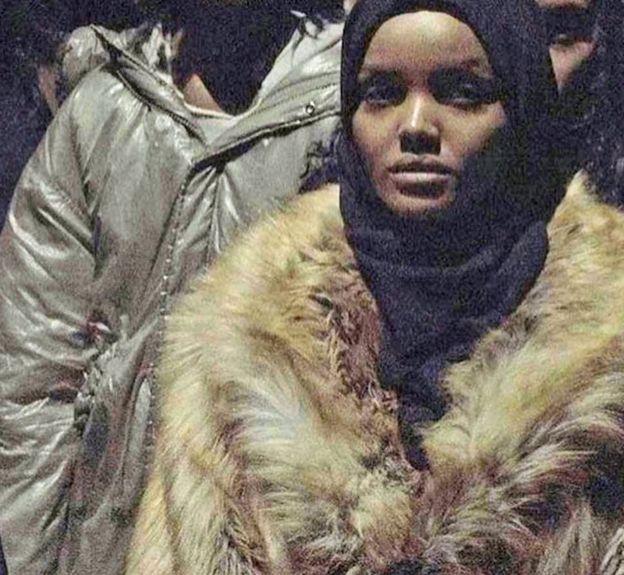 Model Halima Aden posted a photo of her fur coat on Instagram