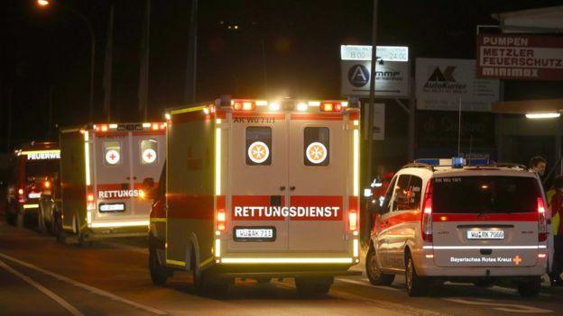 Ambulancias en Wurzburgo, Alemania.