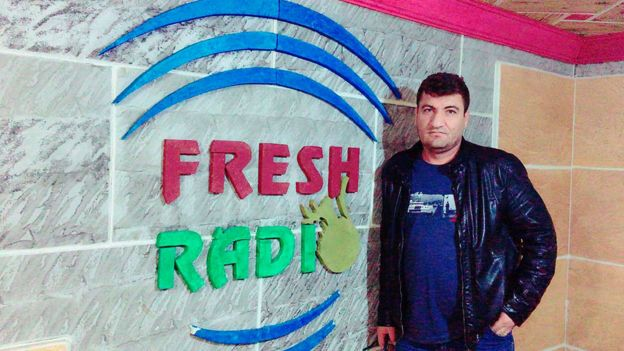 Raed Fares at work at Radio Fresh FM