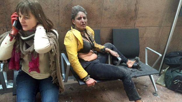 People caught up in Brussels airport blast