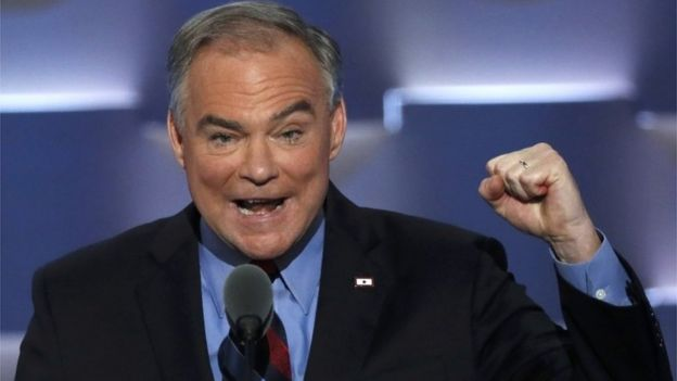 Democratic vice presidential nominee Senator Tim Kaine speaking at the Democratic convention.