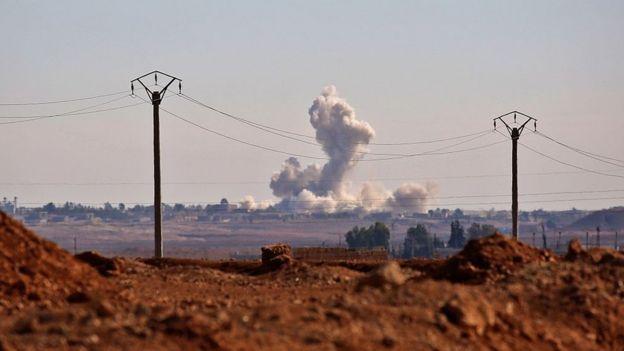 Línea de combate de Estado Islámico en Raqa, Siria