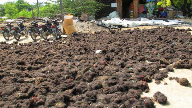 Montones de pelo antes de ser procesado en Birmania.
