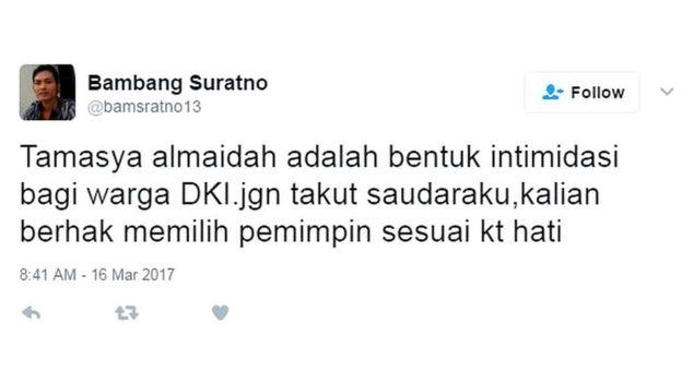 Penolakan aksi Tamasya Al Maidah di twitter