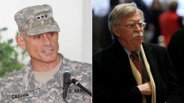 ژنرال رابرت کاسلن (چپ) و جان بولتون (راست) هر دو امروز با دونالد ترامپ دیدار میکنند