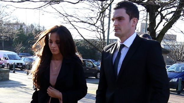 Adam Johnson arrives at court with partner Stacey Flounders