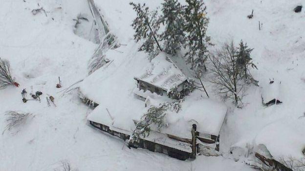 El hotel sepultado por la avalancha