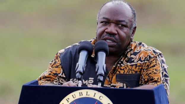 President Ali Bongo addresses media at Nairobi National Park near Nairobi, Kenya, April 30, 2016